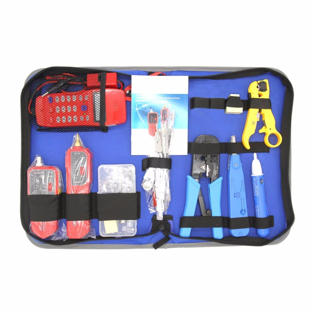 NOYAFA NF-1502 Network Repair Tool Kit With Wire Stripper Wire Tracker Phone Checker NF-866 Crimping Tool Maintenance Tool Set 14pcs the key with combination ratchet wrench auto repair set of hand tool kit spanners a set of keys herramientas de mano