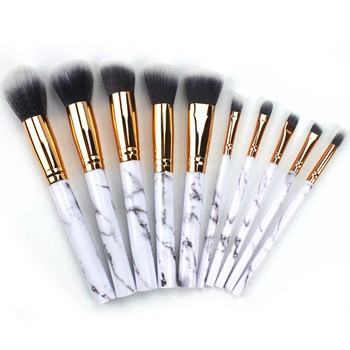 10Pcs/Set Pro Marbling Makeup Brushes Kit Marble Pattern Cylinder PU Brush Bag Power Beauty Make Up Brush Cosmetic Tools 3