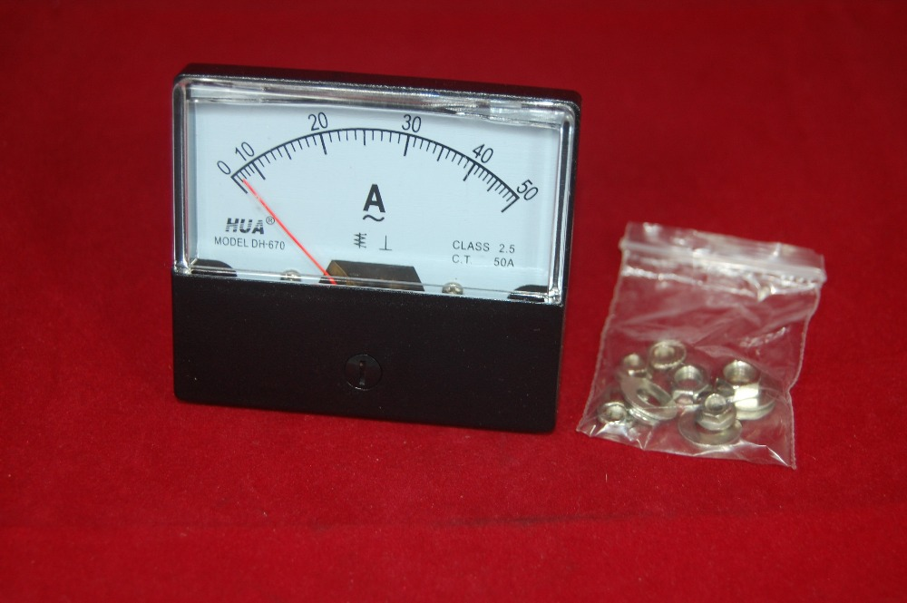 1PC DC 0-40A  Analog Ammeter Panel AMP Current Meter 60*70MM with Shunt