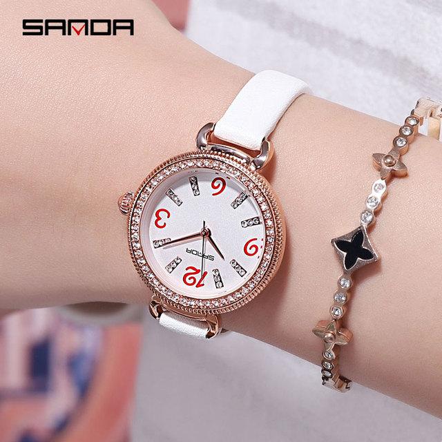SANDA Diamond Fashion Luxury Women Watches relogio feminino New Lather Strap reloj mujer Quartz Watch Women Waterproof Clock
