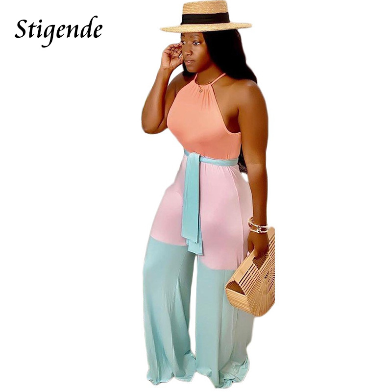 Stigende Fashion Women Casual Wide Leg Sleeveless Jumpsuit Summer Bodycon Sexy Halter Jumpsuit Bandage Party Jumpsuit Clubwear