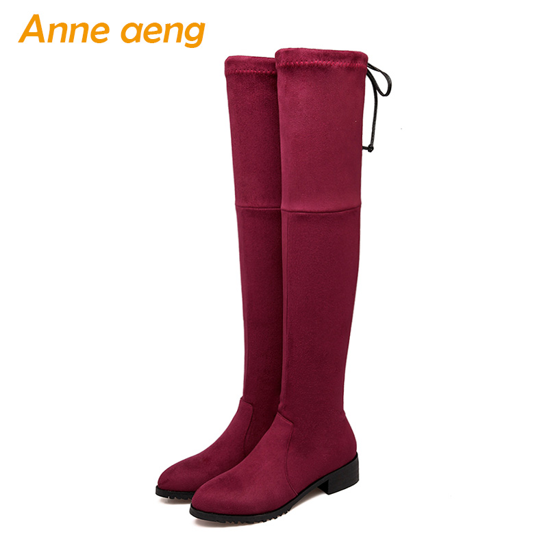 <font><b>2018</b></font> New Winter Women Over-The-Knee Boots Middle Heel Round Toe Elastic Band <font><b>Sexy</b></font> Ladies Women <font><b>Shoes</b></font> Red Long Thigh High Boots image