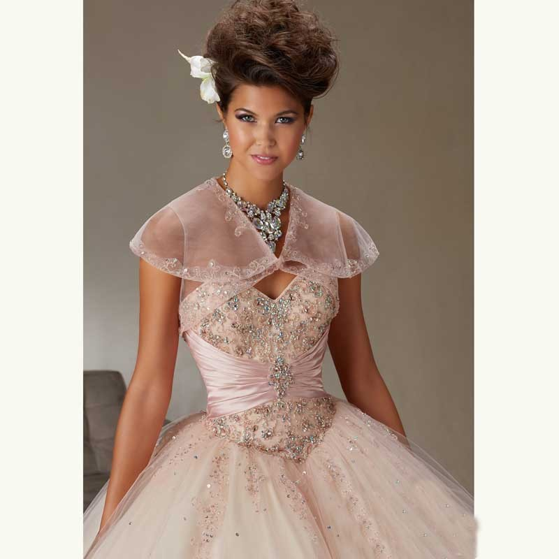 f2eeb3d3a43 Pretty Light Pink Quinceanera Dresses with Sheer jacket beaded shiny ...