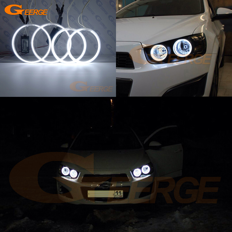 For Chevrolet AVEO Sonic T300 2011 2012 2013 2014 Excellent Ultra bright illumination CCFL Angel Eyes kit Halo Rings стоимость