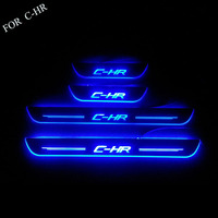 FIT For C HR 2016 2017 2018 Door LED Sill Scuff Plate Welcome Pedal Stainless Steel Car Styling Accessories FOR CHR