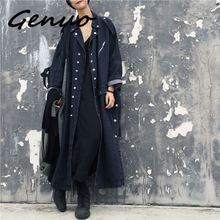 Genuo New Europe Loose Denim Windbreaker Women 2019 Spring and Autumn Trench Coat for Pluz Size Single-breasted Coats