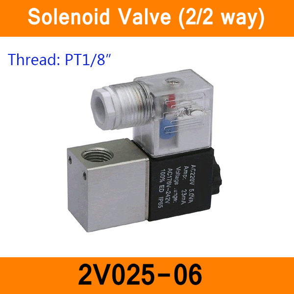 2V025-06 1/8 2 Position 2 Port 2 Way Air Solenoid Valves Pneumatic Control Valve DC12V DC24V AC36V AC110V AC220V