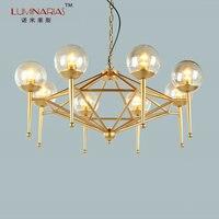 TIANSHENG Post Modern Gold Finished Dinning Room Chandelier Glass Shade Chandelier Bed Room Lighting E27