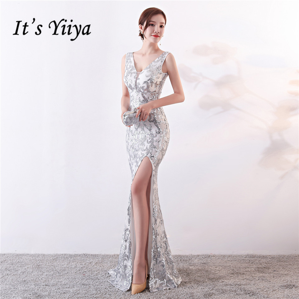 It's Yiiya Evening Dresses Sequined V-neck Zipper Back Mermaid Party Gowns Royal Backless Floor-length Trumpet Prom Dresses C181(China)