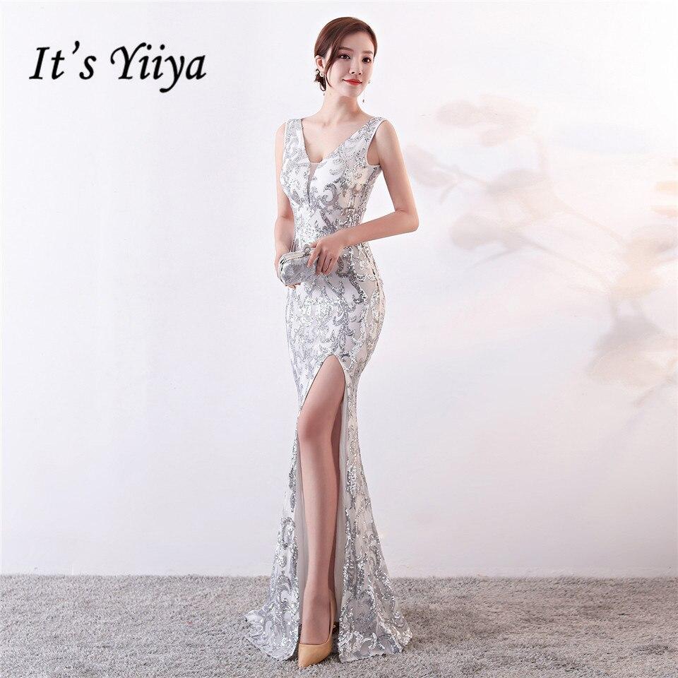 É Yiiya À Noite vestidos de Lantejoulas Com Decote Em V Zipper voltar Sereia Vestidos de Festa Real Backless do Assoalho-comprimento Trompete prom c181
