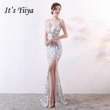 Es der Yiiya abendkleider Pailletten V ausschnitt Zipper zurück Mermaid Party Kleider Royal Backless bodenlangen Trompete Prom kleider c181