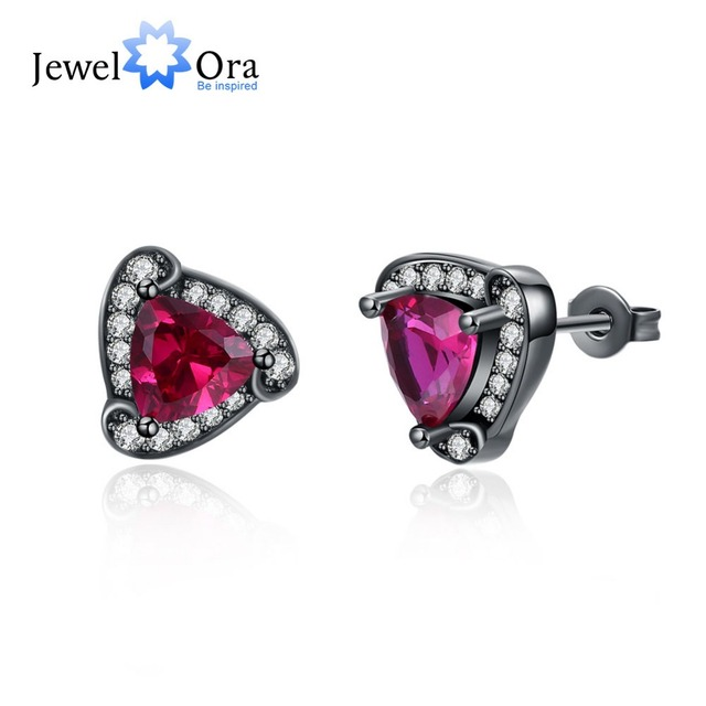 Triangle Design Red Cubic Zirconia Stud Earrings For Women Black Gun Color Party Accessorise Gifts