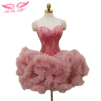 AnXin SH pink evening dresses, short princess feathers evening dresses, sisters birthday shows fluffy evening dresses
