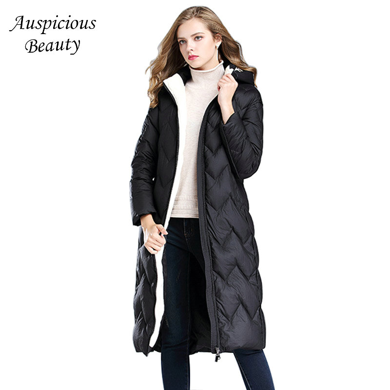 2017 New Women Winter Down Coats Hooded White Duck Down Jacket Womens Female Long Snow Warm Thick Coat High Quality CXM392