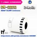 Многоразовые рулоны для принтера Brother  универсальные этикетки для DK-22212  62 мм * 15 24 м  совместимые с белыми цветами  DK-2212  DK22212  2 шт.