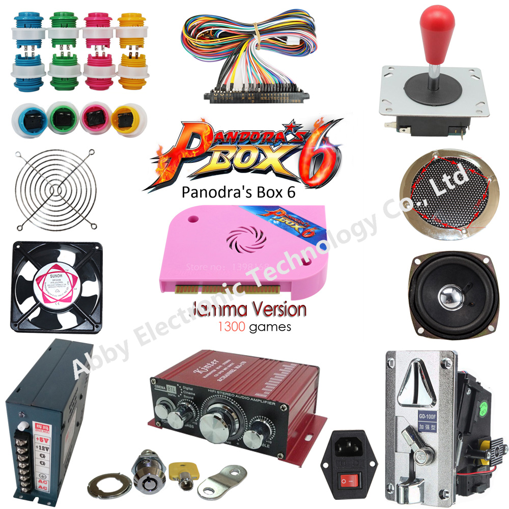 Arcade Parts Bundles Kit with game elf 1300 in 1 game PCB board Zippyy joystick push button switch coin acceptor power supply in Coin Operated Games from Sports Entertainment