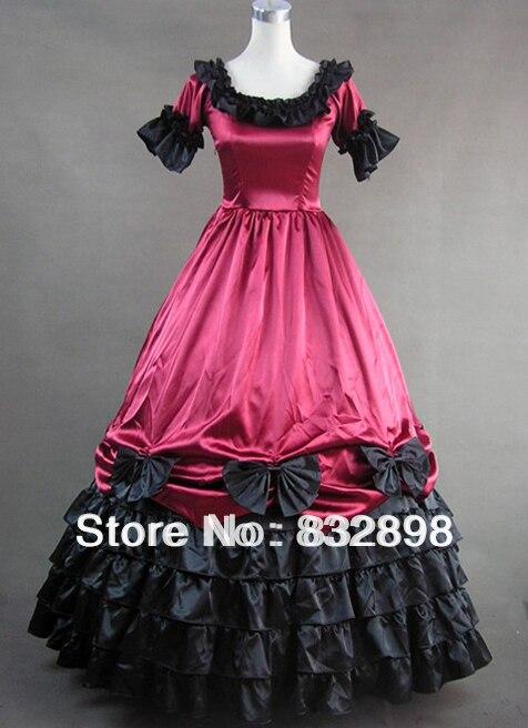 De color Rojo oscuro de Manga Corta Vestido de Gótico Victoriano de ...