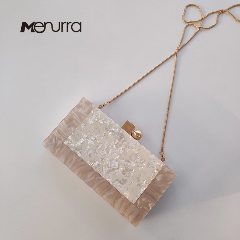 Casual Clutch Wallet Wedding-Handbag Marble Acrylic Party Small White Fashion Woman Solid
