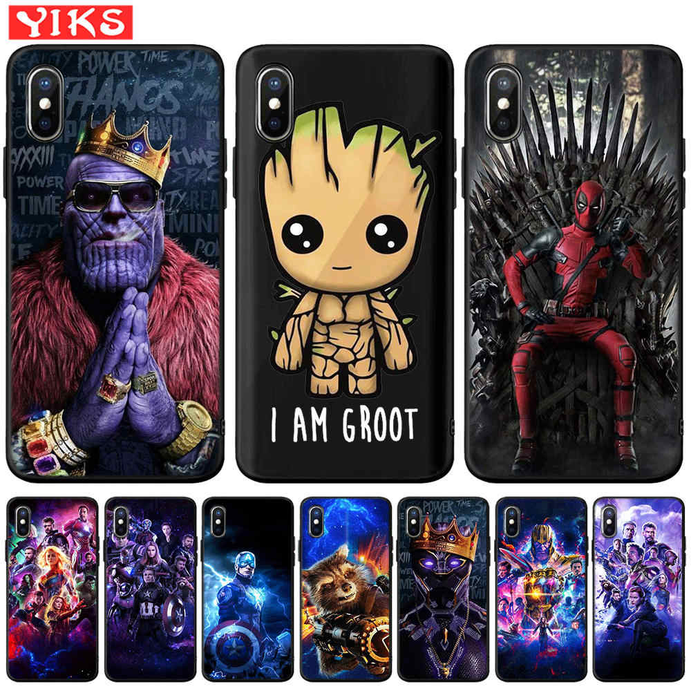 Captain Marvel Avengers Groot Deadpool Thanos étui pour iphone X XR XS Max 8 7 6 6 S Plus 5 5 S SE housse Etui Coque Funda