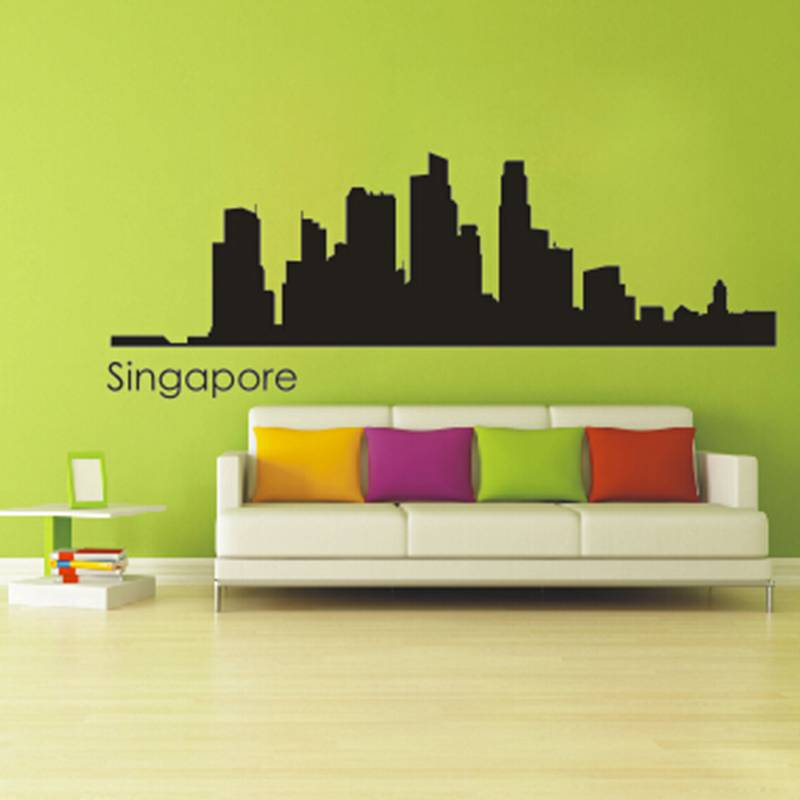singapore city decal landmark skyline wall stickers sketch decals