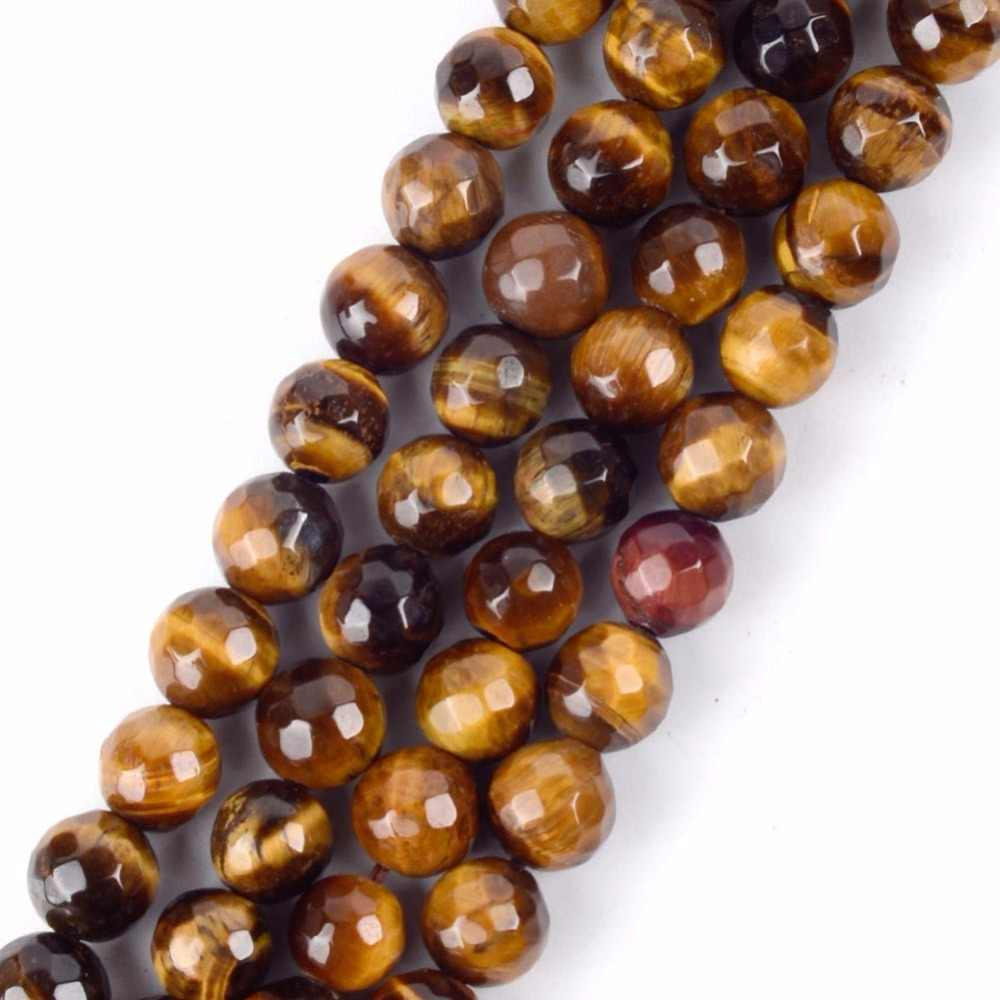 Wholesale 4 6 8 10 12mm Faceted Natural Mineral Yellow Tiger Eye Stone Round Beads For Diy Jewelry Bracelet Necklace Making 15""