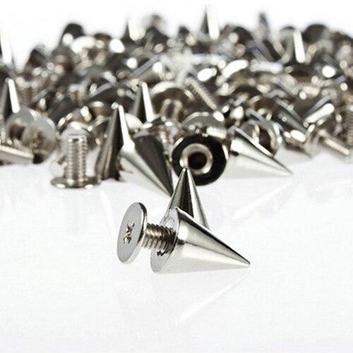 100 шт. 9.5 мм Панк серебро конуса Шипы Screwback Шпильки DIY Craft Прохладный Заклёпки