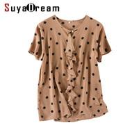 Women Silk Blouse 100% REAL SILK CREPE Dots Printed Blouse Shirt Short Sleeved 2019 Spring Summer Shirt Caramel