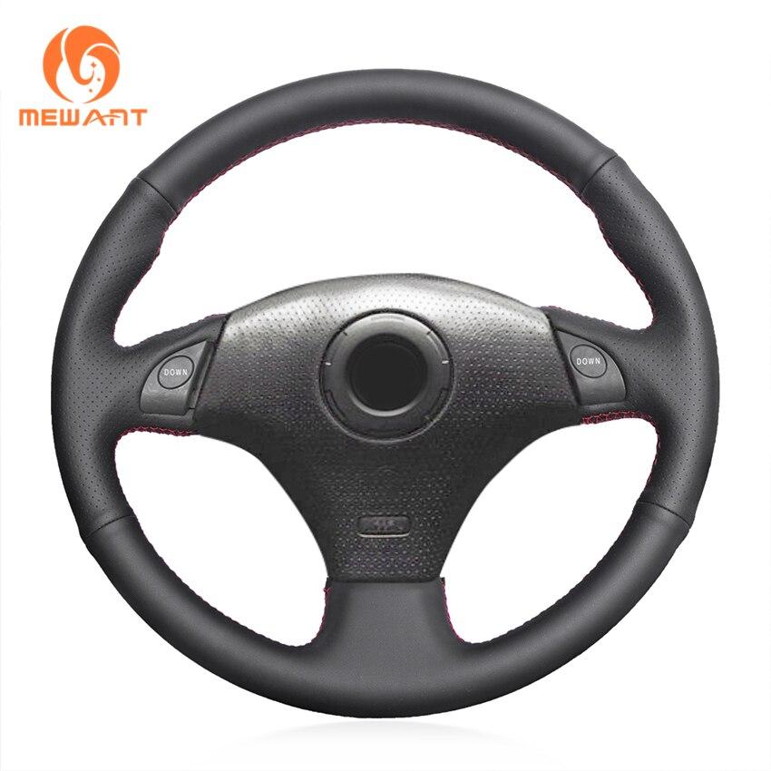 MEWANT Black Genuine Leather Car Steering Wheel Cover for Toyota RAV4 1998-2003 Corolla 2001 Celica 1998-2005 MR2 2000-2004