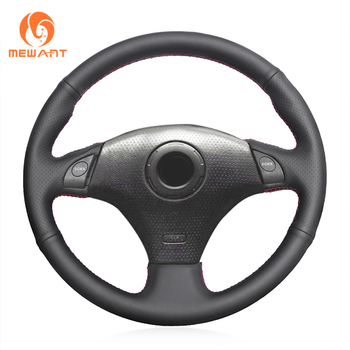 MEWANT Black Genuine Leather Car Steering Wheel Cover for Toyota RAV4 1998-2003 Corolla 2001 Celica 1998-2005 MR2 2000-2004