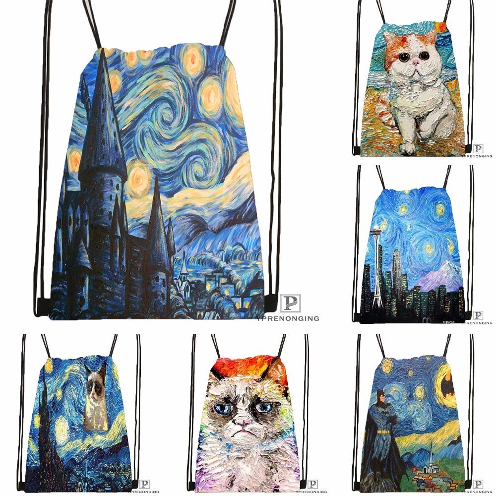 Custom Vincent Van Gogh Starry Night Drawstring Backpack Bag Cute Daypack Kids Satchel (Black Back) 31x40cm#180531-03-52