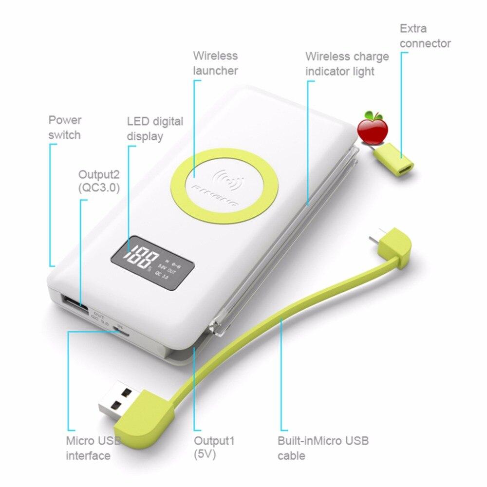 imágenes para PINENG 10000 mAh Banco Móvil Portable de La Batería externa de Carga Inalámbrico Luz Incorporada Con WPC Q Estándar Cargador Rápido