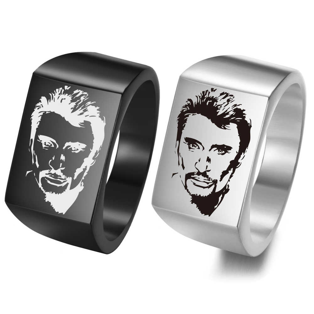 Johnny Hallyday Photo Punk Rock Wide Rings for men woman jewelry stainless steel Hip Hop males Finger ring SL-101