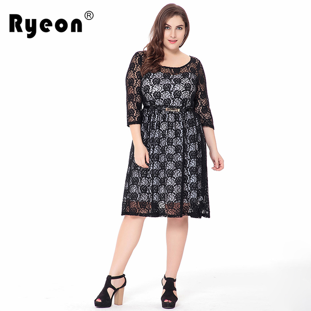 Ryeon Lace Dresses Big Size Party Black Sexy Tunic Vintage Loose Plus Size  Women Dress O Neck Large Size Female Clothing 6xl 5xl dc59a0c5dd26