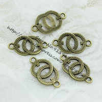 Sweet Bell (60 pieces/lot) 14*25mm Antique Bronze Metal Alloy two circles Jewelry Connectors Charms for Bracelet Making D0483