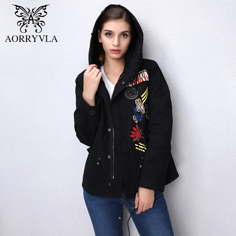 AORRYVLA Fashion Women   Basic     Jacket   Autumn 2017 Cotton Embroidery Vintage Full Sleeve Regular Length Casual Hooded Streetwear