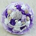 Flores de La Boda Ramos de Novia de lujo Perlas Artificiales Crystal Satin Rose Flores Decoración de La Boda Ramo Broche F04