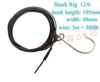 2pcs Stainless Steel Tuna Shark Rig 12 0 With 3m Steel Wire Ocean Big Fishing Hooks