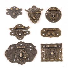 Античный латунный Деревянный чехол на застежке, винтажная декоративная подарочная коробка для ювелирных изделий, чехол на застежке с защелкой, мебельная Пряжка, замок CP2264