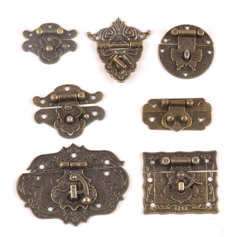 Antique Brass Wooden Case Hasp Vintage Decorative Jewelry Gift Box Suitcase Hasp Latch Hook Furniture Buckle Clasp Lock CP2264