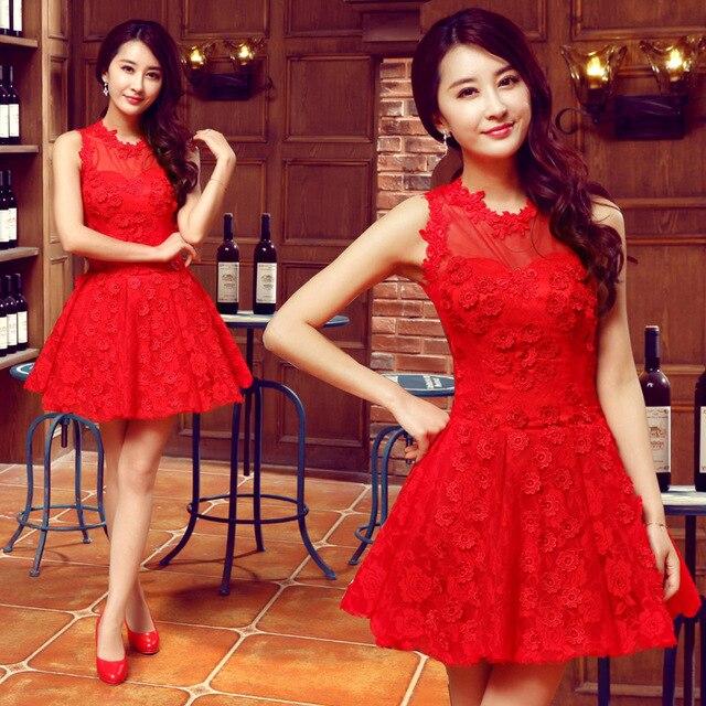 Lc102m vestido rojo de la boda corto Mini gasa flor del bordado ...
