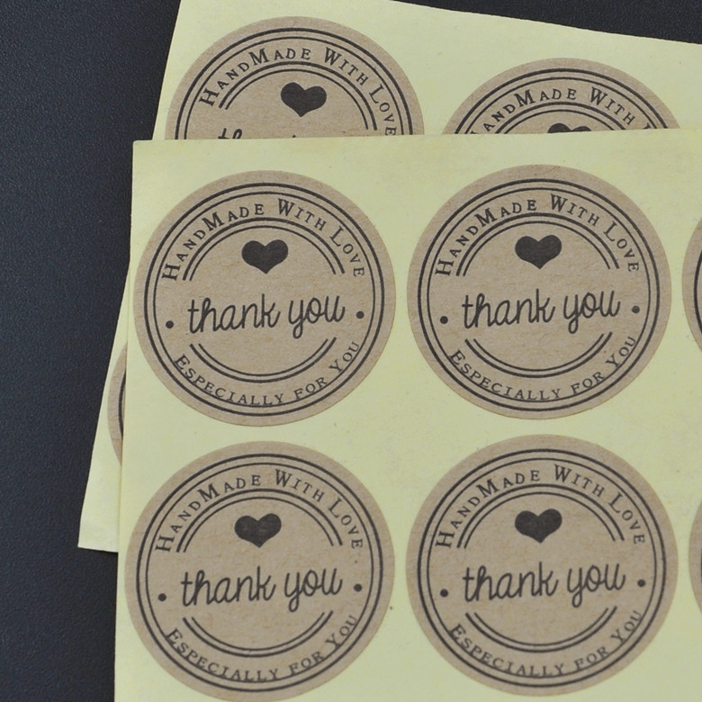 100pcs/lot Thank You love self-adhesive stickers kraft label sticker Diameter 3CM For DIY Hand Made Gift /Cake /Candy paper tags упаковочные этикетки thank you for you 100pcs lot 30 ne 0005