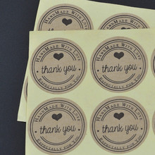 Купить с кэшбэком 100pcs/lot Thank You love self-adhesive stickers kraft label sticker Diameter 3CM For DIY Hand Made Gift /Cake /Candy paper tags