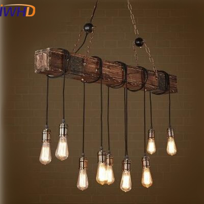 IWHD Industrial Vintage Loft Style LED Pendant Lights American Retro Pendant Lamp RH Wooden Droplight Fixtures For Home Lighting american retro pendant lights luminaire lamp iron industrial vintage led pendant lighting fixtures bar loft restaurant e27 black