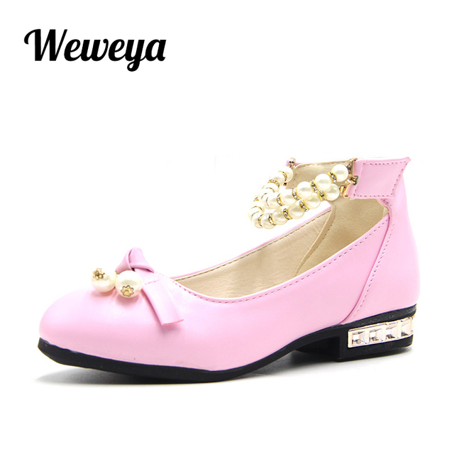 Weweya Children s Leather Shoes Girls Performance Autumn Infantil Fashion  Brand Dress Pink White Red Princess Kids Wedding Shoes 959ab5da4ebd