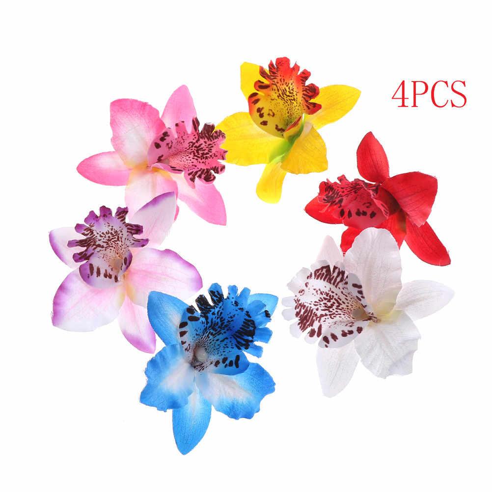 4 pz Nuovi ornamenti per capelli capelli Spille barrettes Nuziale Fiore di Orchidea Leopardo Clip di Capelli Spilla Spille Barrette Decorazione Delle Donne clip