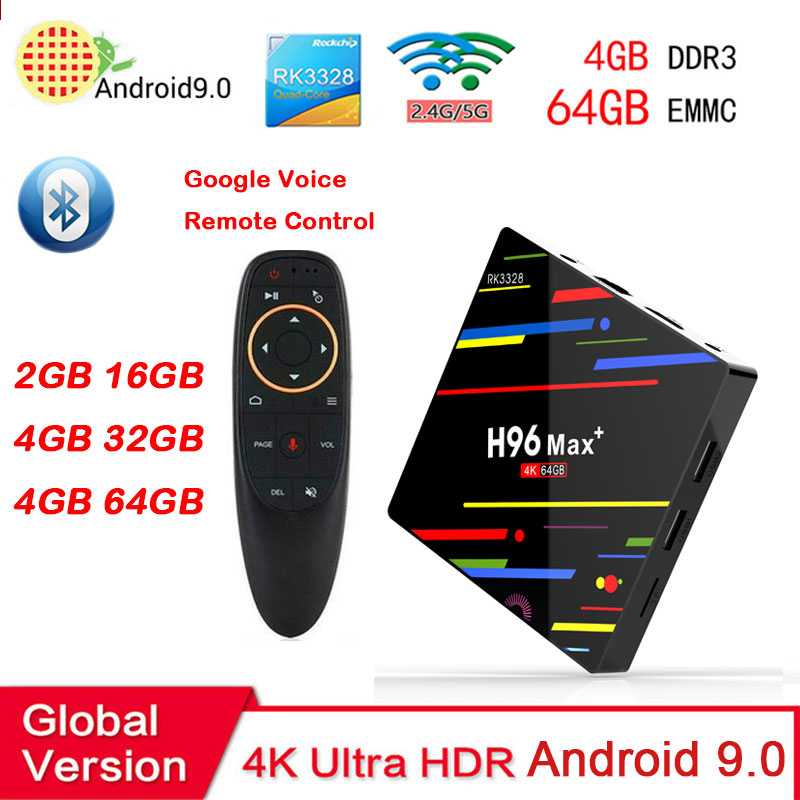 Android box h96 max plus RK3328 android 9.0 4 GB 64 GB box tv support 2.4/5G double wifi 4 K HD iptv BT4.0 Google Play pk mecool km3