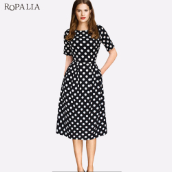 ROPALIA Summer Polka Dot Vintage Dress Elegant Women Short Sleeve Work Office Casual Party A Lin Dresses Vestido T7 8