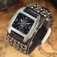 Leather Band Strap Quartz Cool Stylish Wrist Watch Bracelet Rock Skull Chain Analog Punk Accessories Men