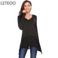 LETEOO T Shirt Women Long Sleeve Autumn Casual Split High Low Hem Tshirt Warm Basic Tee