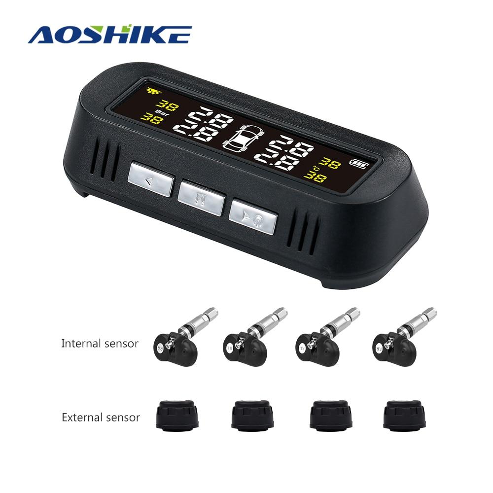 AOSHIKE TPMS Auto Reifendruck System Digital LCD Display Solar ODER USB Auto Drahtlose 4 Interne Sensor Mit Stimme Broadcast